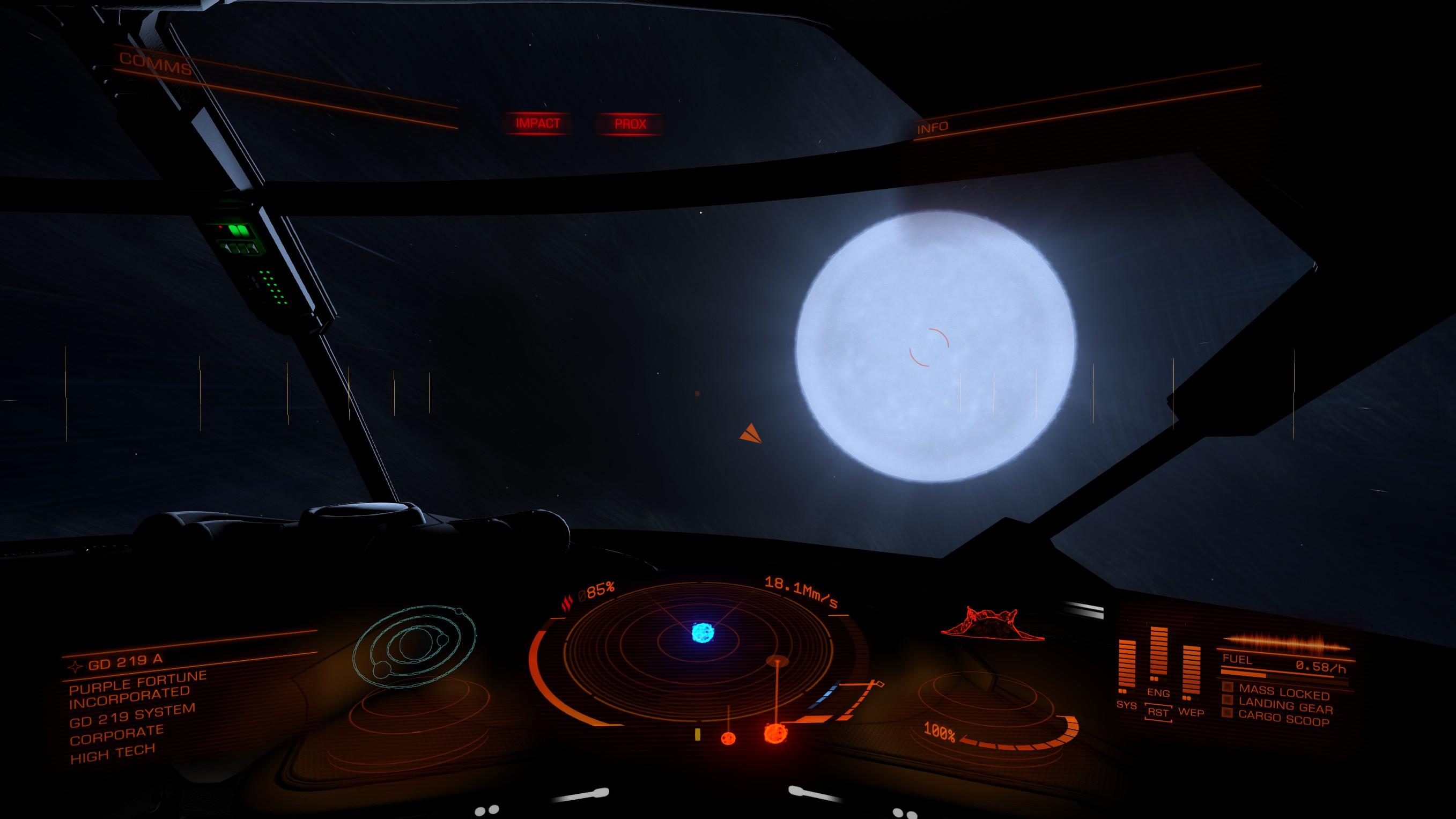 В режимі крейсерної швидкості можна насолоджуватися привабливими космічними пейзажами.