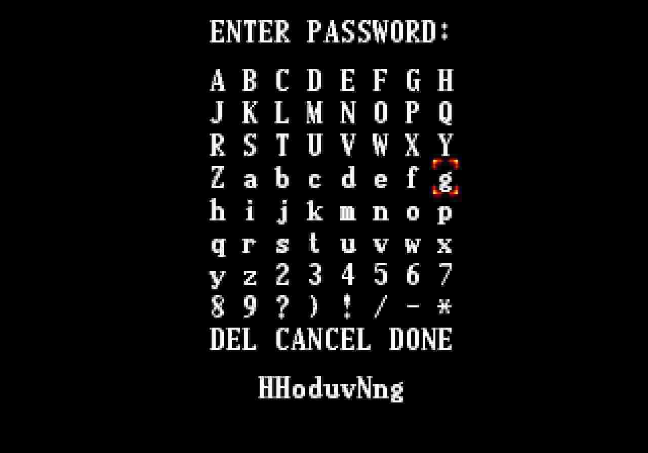 Система паролів замінила збереження гри. Як видно з кількості символів, варіантів було немало.