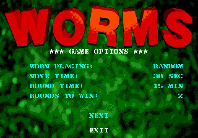 В опціях гри можна було обрати, яким чином розміщувати черв'яків на мапі, тривалість ходу чи раунду та кількість раундів для перемоги у матчі.